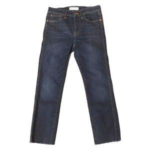 Madewell High Riser Skinny Jeans Raw Hem Stretch